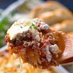 Spoonful of spaghetti squash lasagna
