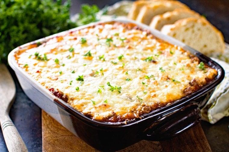 Spaghetti squash lasagna in casserole dish
