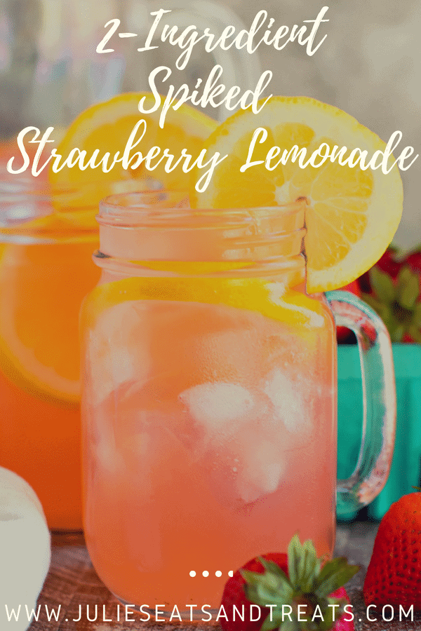 Vodka Strawberry Lemonade with lemon slices in a mason jar