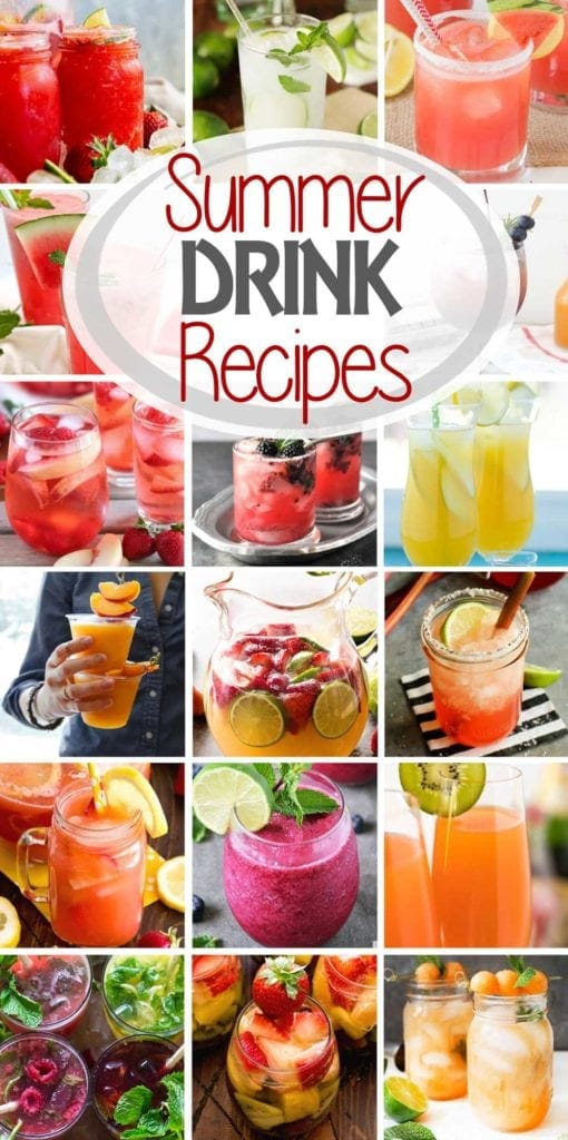 Collage with seventeen images of beverages and text reading summer drink recipes