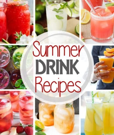 Square collage with eight images of beverages and text reading summer drink recipes