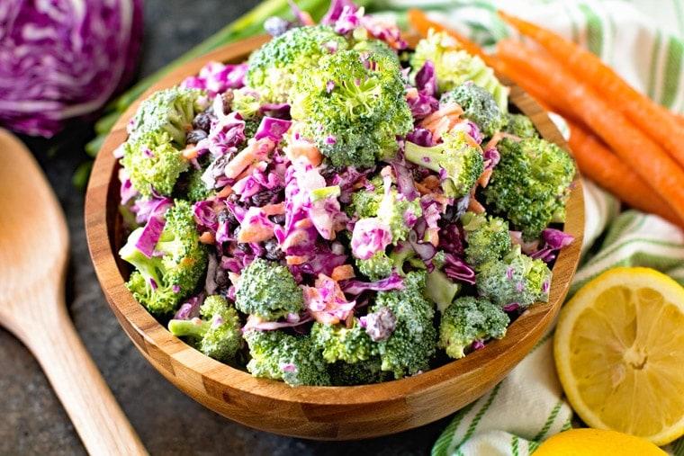 Skinny broccoli slaw in brown bowl