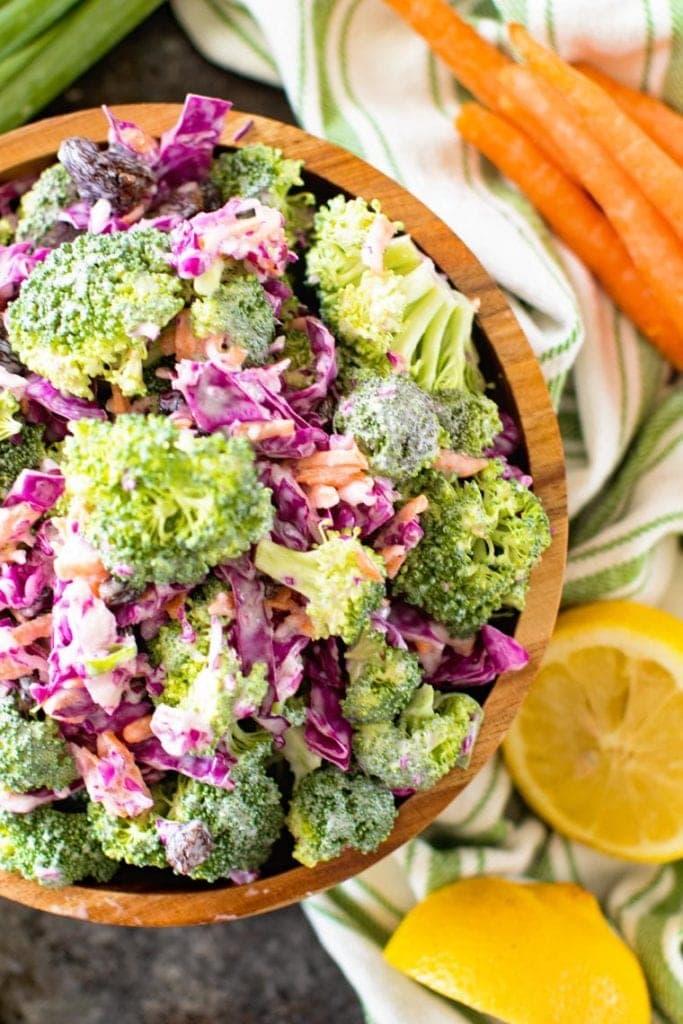 Broccoli Slaw recipe in brown bowl