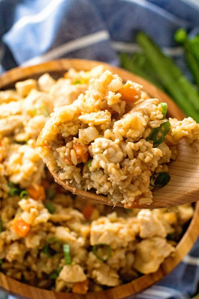 Cauliflower Fried Rice with Chicken on spoon