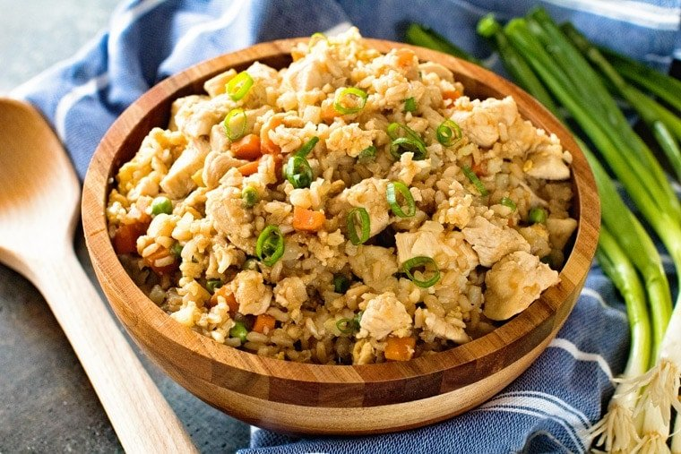 Cauliflower Chicken Fried Rice in bowl