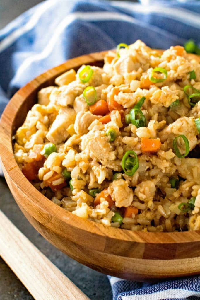 Cauliflower Fried Rice in brown bowl