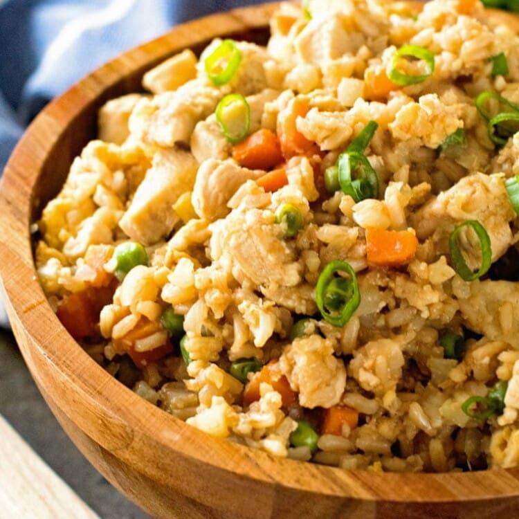 Cauliflower Fried Rice in brown bowl