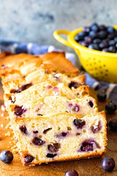 Cream Cheese blueberry bread sliced