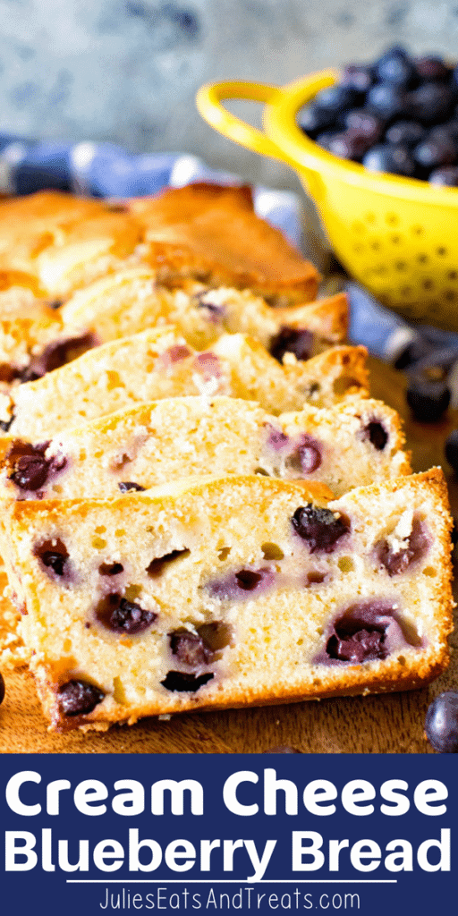 Cream Cheese Blueberry Bread slices on a cutting board