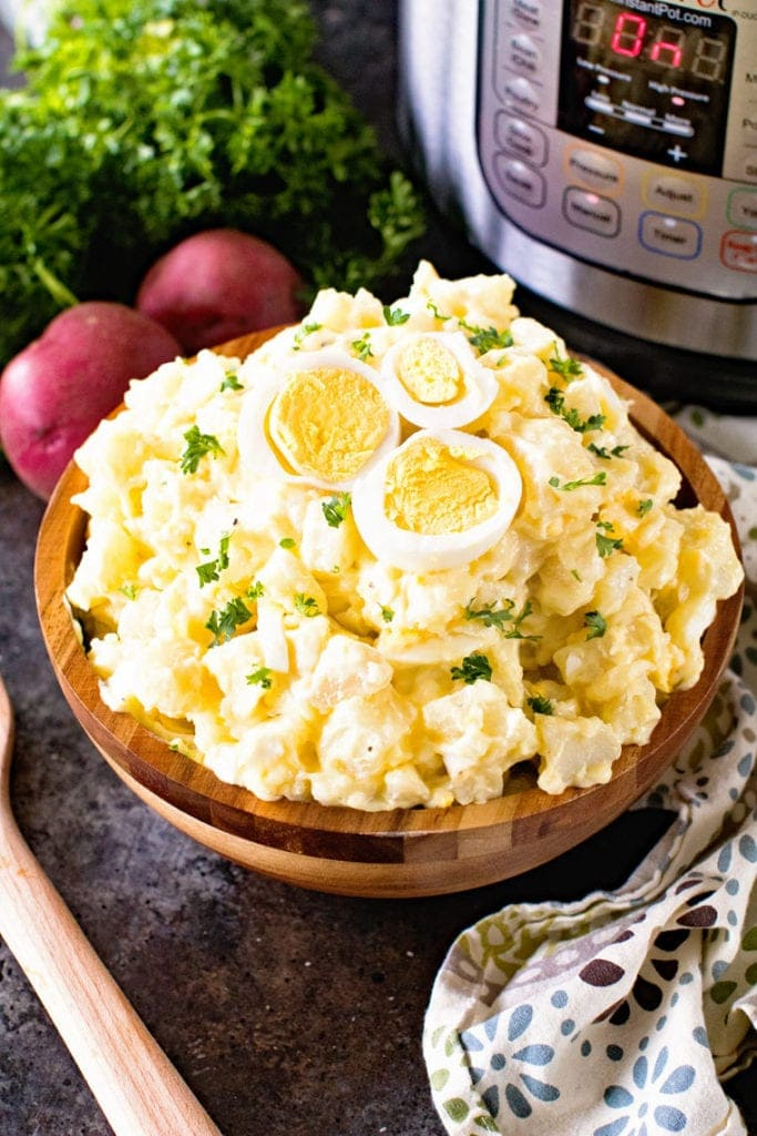Pressure cooker potato salad in brown bowl