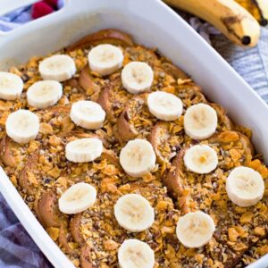 Pecan banana french toast in a white baking dish
