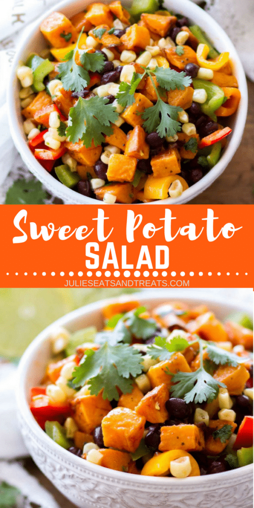 Collage with top image overhead of sweet potato salad in a white bowl, middle banner with text reading sweet potato salad, and bottom image from the side of a bowl of sweet potato salad