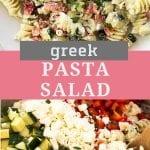 Pinterest Collage Image for Greek Pasta Salad