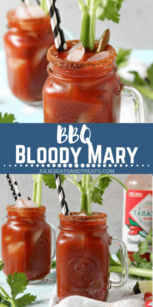 Collage with top image of the rim of a bloody mary with seasoned rim, middle banner with text reading BBQ Bloody Mary, and bottom image of two bloody mary's in a glass mug