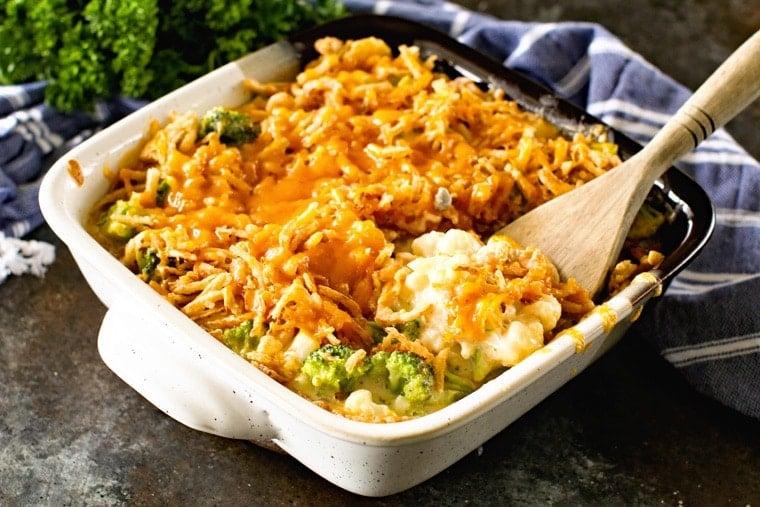 Broccoli and Cauliflower Casserole in casserole dish
