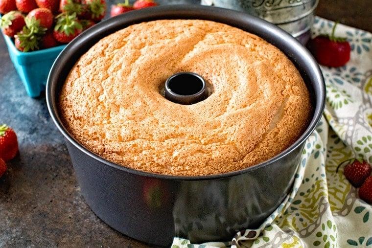 Angel food cake in pan