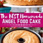 Collage with top image of an angel food cake on a white cake stand, middle banner with text reading the best homemade angel food cake, and bottom image of an angel food cake in its pan