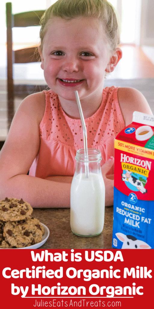 Child drinking milk through a straw next to a carton of horizon organic milk