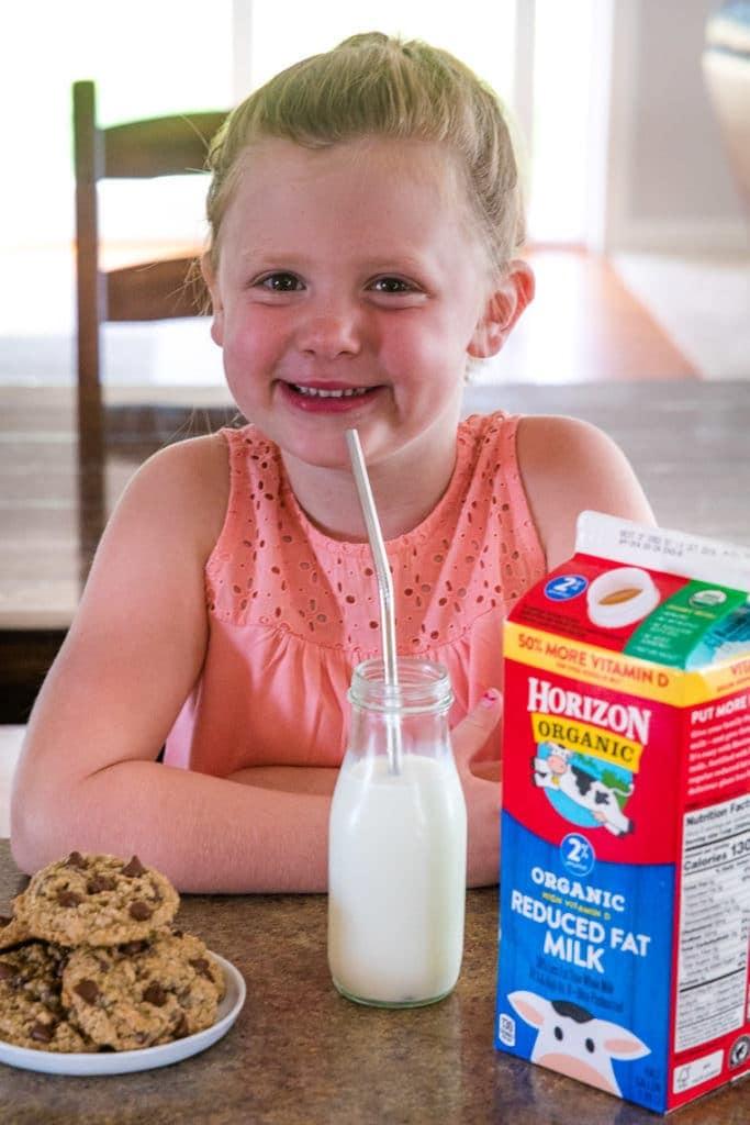Kid drinking Horizon Organic Milk