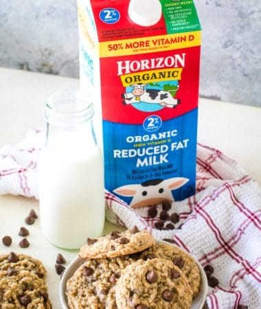 Horizon Organic Milk carton next to plate of cookies