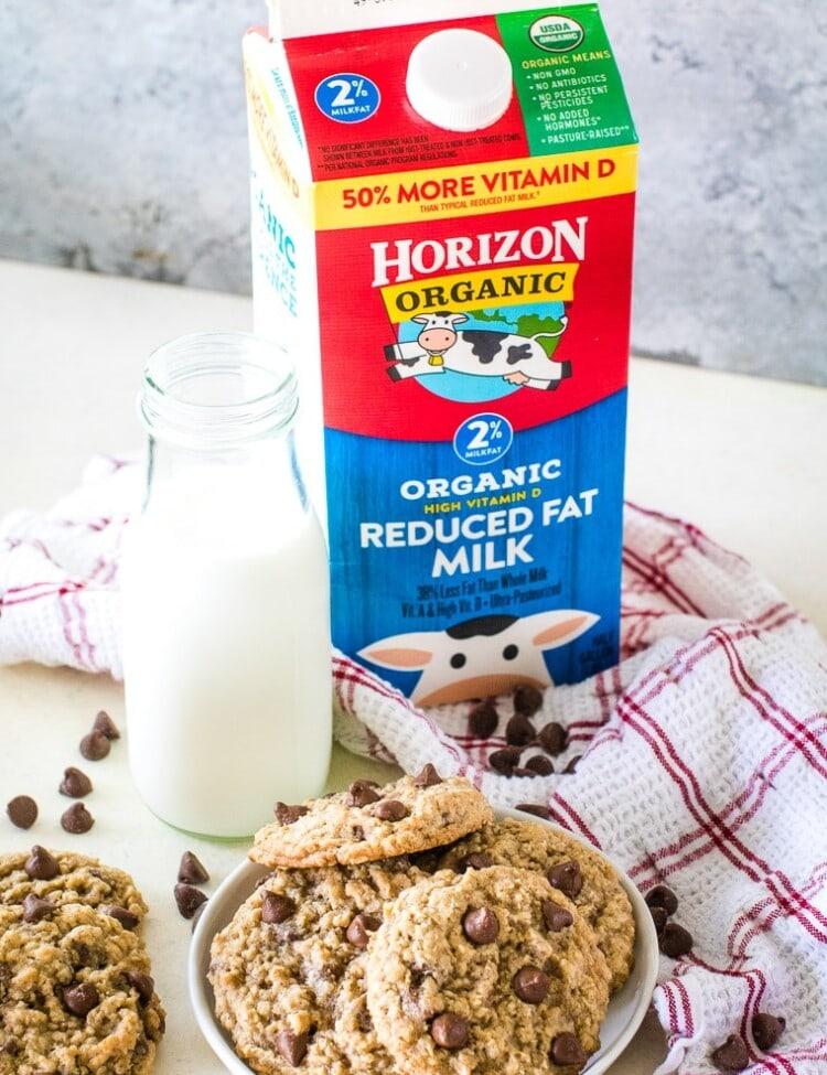 Horizon Organic Milk carton next to plate of cookies