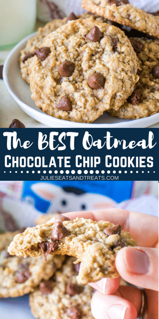 Collage with top image of chocolate chip oatmeal cookies stacked on a white plate, middle banner with text reading the best oatmeal chocolate chip cookies, and bottom image of a cookie with a bite out of it in hand