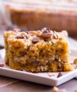 A piece of pumpkin cake with chocolate chips