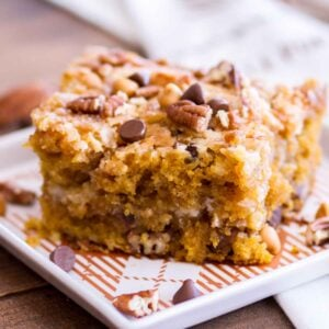 A piece of pumpkin cake on plate