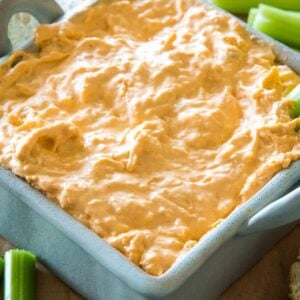 Crockpot Buffalo Chicken Dip in square dish