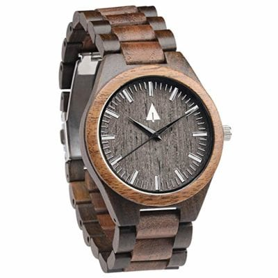 Treehut Men's Walnut and Ebony Wooden Watch Gifts for Men Gifts for Boyfriend