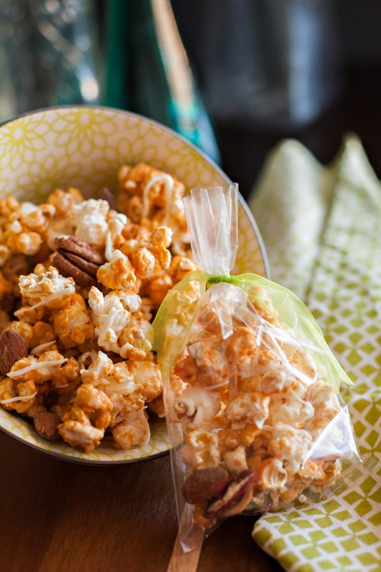 Super easy Butterscotch Popcorn with only two ingredients, and no baking!