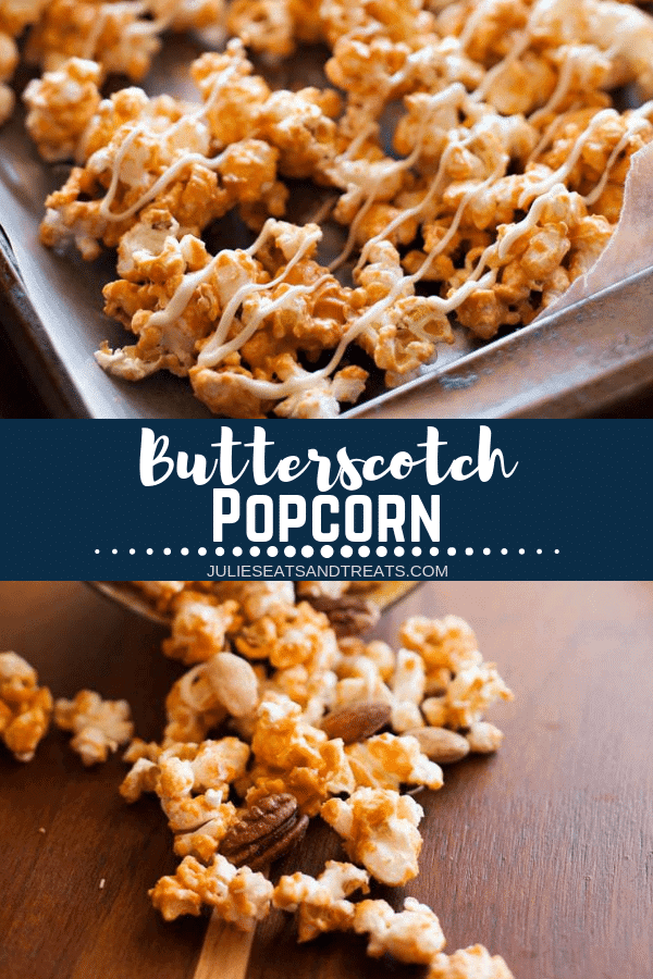 Collage with top image of butterscotch popcorn on wax paper, middle banner with text reading butterscotch popcorn, and bottom image of popcorn on a cutting board