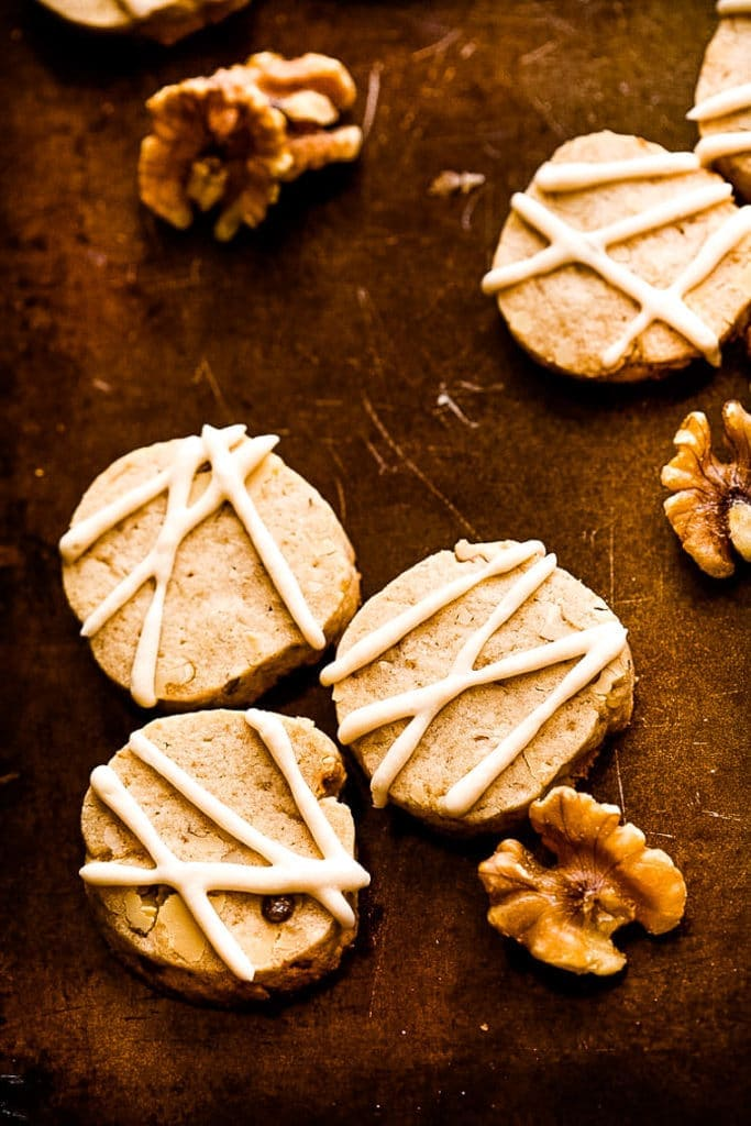 Maple Cookies frosted on baking sheet