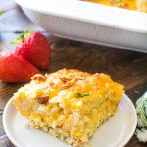 Tater Tot Breakfast Casserole on white plate