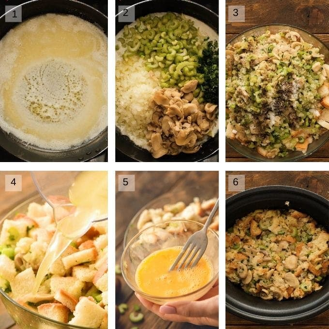 Photos of steps to make crockpot stuffing