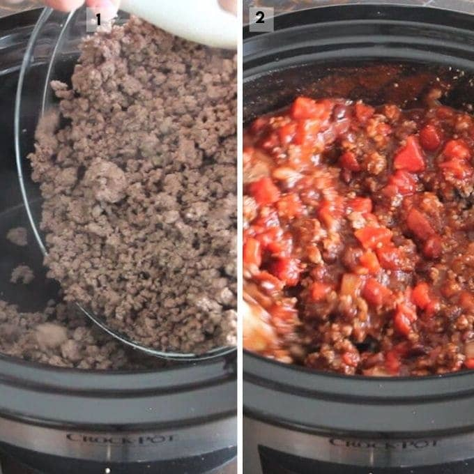 Process photos of making Crockpot Chili