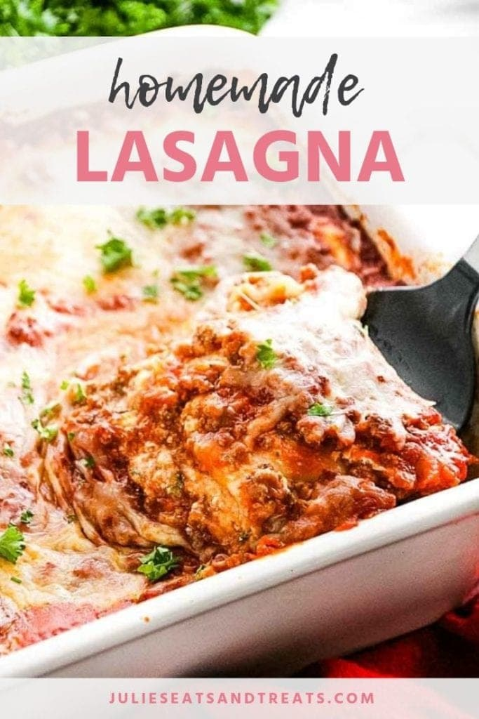 Spatula lifting a slice of lasagna out of the casserole dish