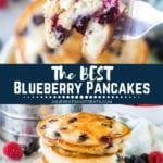 Collage with top image of a bite of blueberry pancakes on a fork, middle banner with text reading the best blueberry pancakes, and bottom image of a tall stack of blueberry pancakes with syrup on a plate