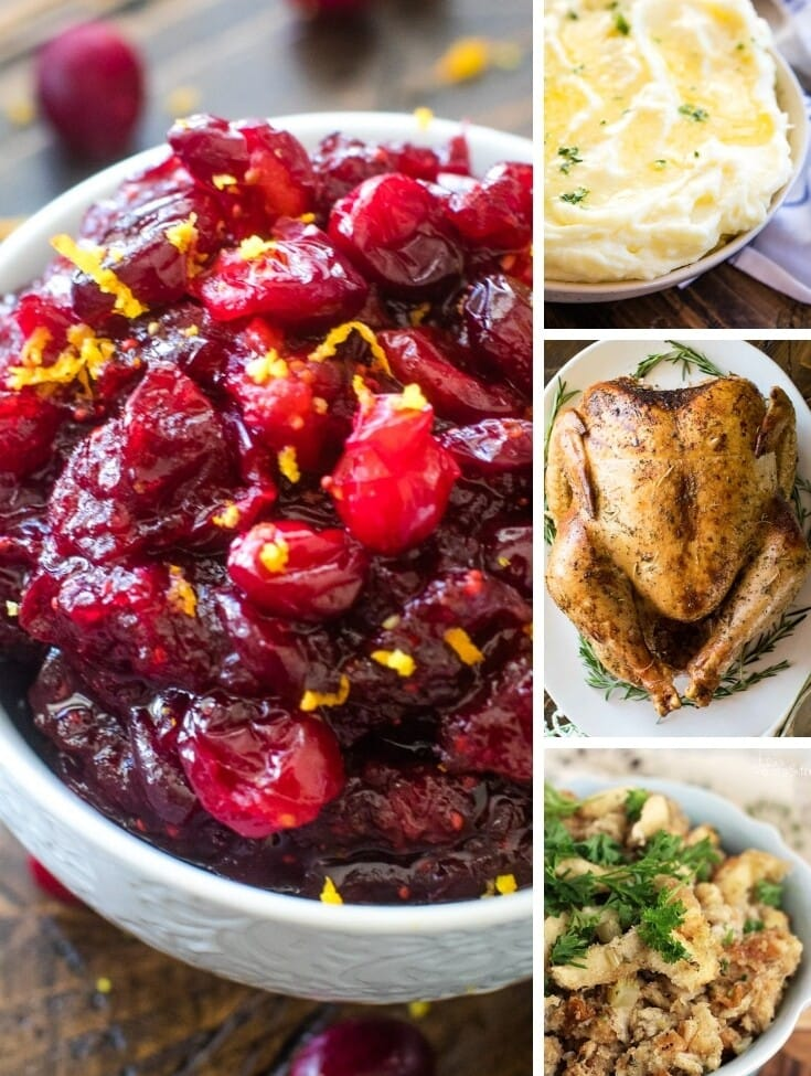 Collage of Thanksgiving recipe images with left larger image of cranberries and three smaller right images of mashed potatoes, turkey, and stuffing