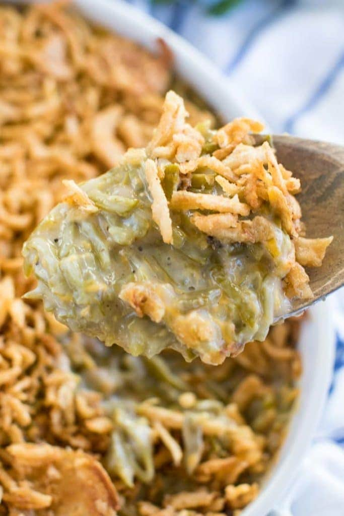 Spoonful of green bean casserole recipe