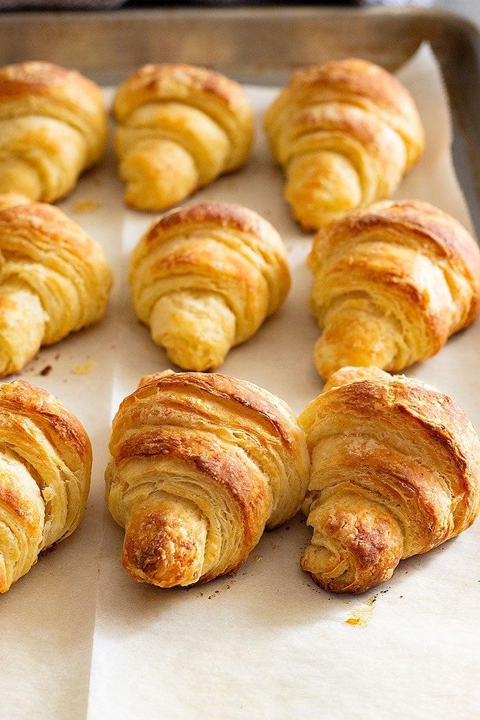 Crescent rolls baked on baking sheet