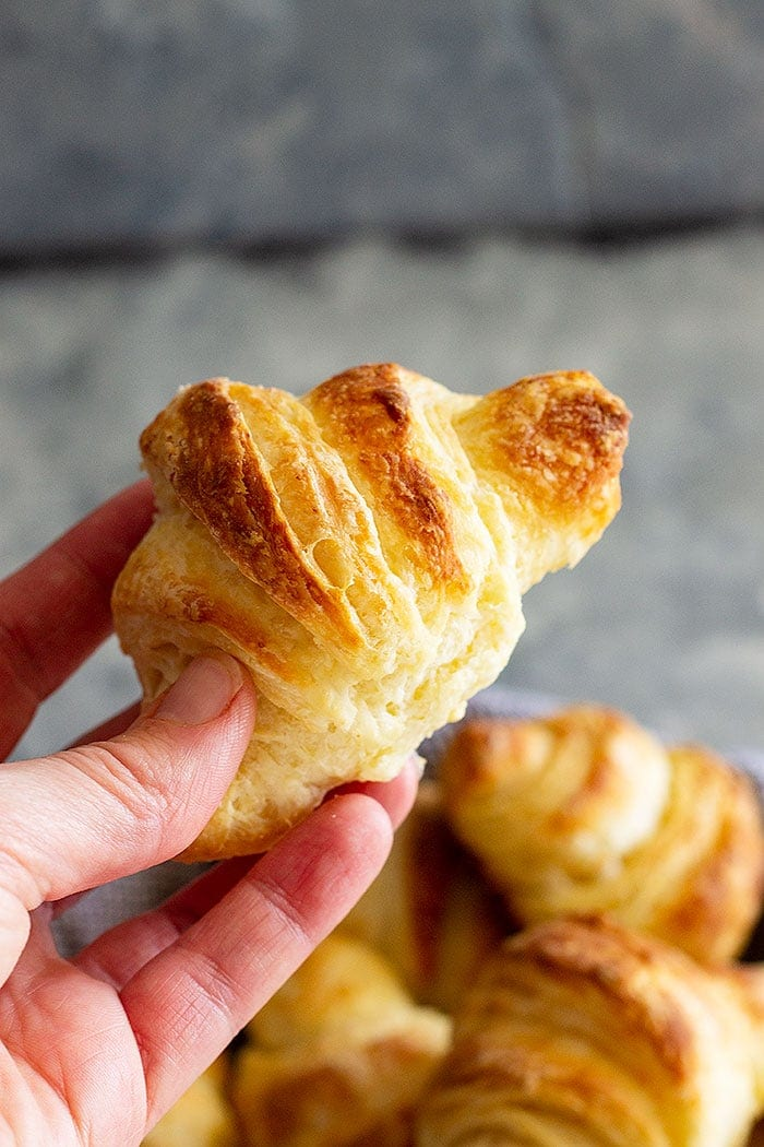 Hand holding homemade crescent roll