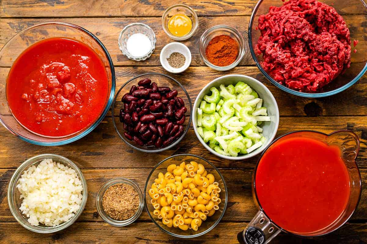 Overhead image of Slow Cooker Chili Mac Ingredients in small bowls