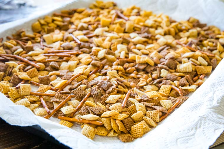 homemade chex mix recipe on sheet pan