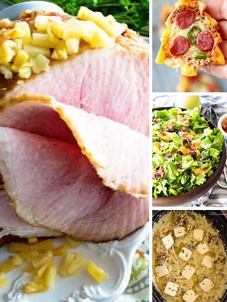 Collage with larger left image of a pineapple ham and three smaller right images of a chirstmas tree pizza, salad, and mashed potatoes.