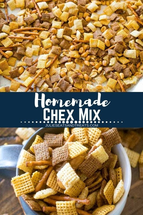 Collage with top image of chex mix spread out on wax paper, middle banner with text reading homemade chex mix, and bottom image of a bowl of chex mix