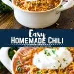 Easy homemade chili pinterest image