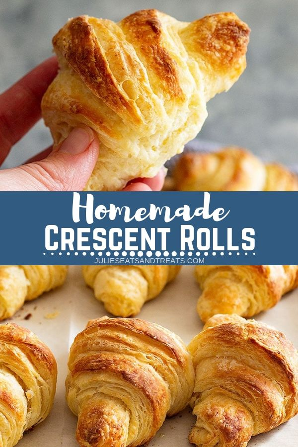 Collage with top image of a hand holding a crescent roll, middle banner with text reading homemade crescent rolls, and bottom image of crescent rolls on a baking sheet