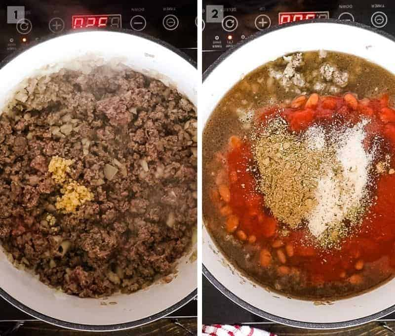 Stovetop Chili 2 image collage of making it