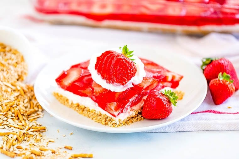 Strawberry Pretzel Dessert Salad piece on plate